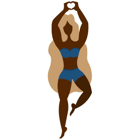 The lady stands on her toes and folds her palms in her heart above her head. Vector stock illustration. Isolated white background. African American girl. Woman in clothes for sports, fitness, yoga.