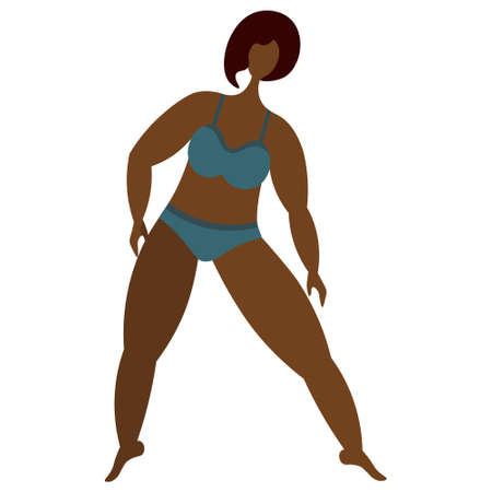 African American girl is engaged in aerobics. Vector stock illustration. Isolated white background. Flat style. Body positive. Confident woman in bikini. Plus size model. Love for your body. Lady.