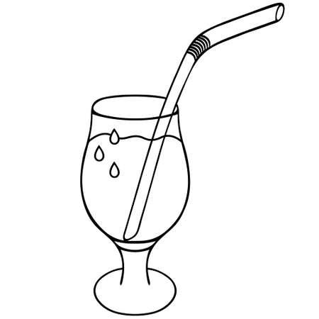 Refreshing drink. Vector stock illustration. Sketch. Drops of water flow down the crystal. Drinking straw. Wine glass. Outline on an isolated white background. Doodle style. Carbonated drink.