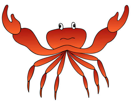 Crab. Marine invertebrate animal with claws of the order of crustaceans. Vector illustration. Isolated white background. A nimble creature with a lot of legs. Cartoon style. Idea for web design, book.