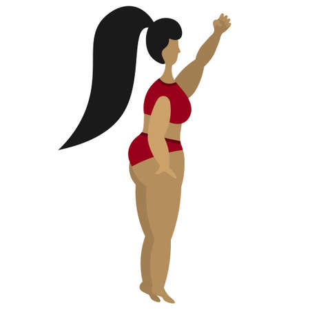 The Latino American woman raised her fist up. Fight for the rights of women around the world. The girl protests. Body positive. Vector stock illustration. Isolated white background. Plus size model.