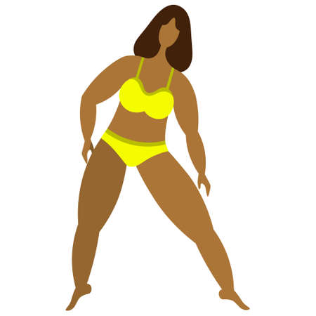 Latino American woman goes in for sports. Girl in a yellow bikini. Body positive. Vector illustration. Isolated white background. Flat style. Lady with bob hairstyle. Love for your body. Plus size. 向量圖像