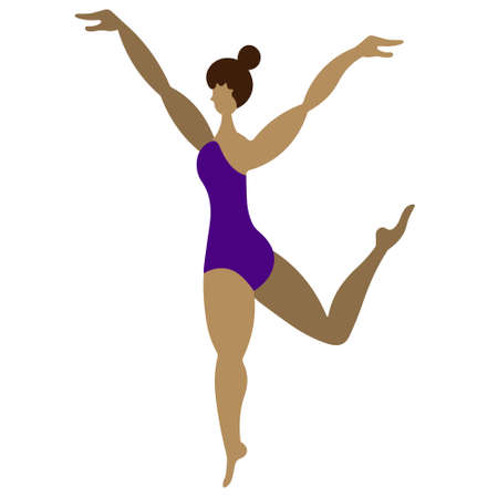 Ballerina in a lilac leotard. Latino American girl dancing. Vector illustration. Isolated white background. Flat style. Body positive. Long legged model. Lady with a bun on her head. 向量圖像