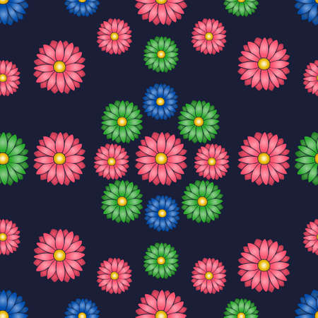Summer flower. An endlessly repeating ornament. Seamless vector pattern. Isolated blue background. Idea for web design, wallpaper, cover, packaging. Flat style. Bright floral background. Daisy. Ilustrace