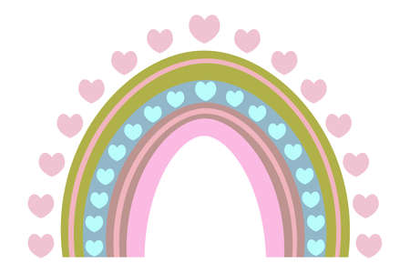 Rainbow and heart. Ethnic motives. Boho style. Colorful vector illustration. Isolated white background. Multicolored stripes with fantasy patterns. Rainbow print. A striking natural phenomenon. Ilustrace
