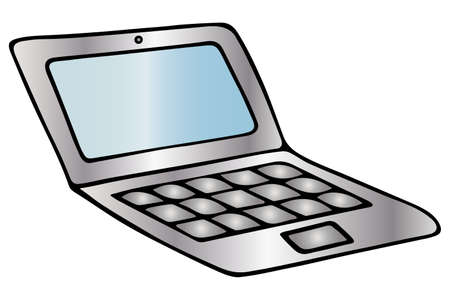 Laptop for study or work. Colored vector illustration. Isolated white background. Cartoon style. Place for text on the screen. Portable personal computer. Electronic device. Smart technology.