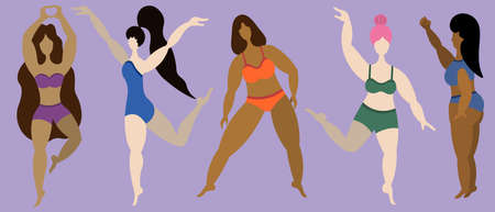 Women of various ages and physiques. Body positive. Collection of vector illustrations. Isolated turquoise background. Flat style. Lady of different ethnicity and skin tones. Girls go in for sports.