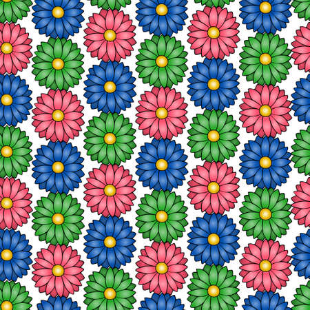Summer flower. An endlessly repeating ornament. Isolated colorless background. Cartoon style. Seamless vector pattern. Idea for web design, wallpaper, cover, packaging. Daisy. Bright floral background