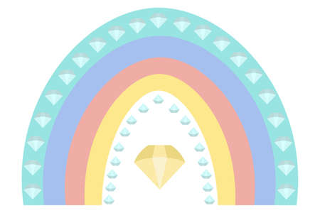 Rainbow and diamonds. Boho style. Multicolored stripes with fantasy patterns. Vector illustration. Isolated white background. Rainbow print. A striking natural phenomenon. Ethnic motives. 矢量图像