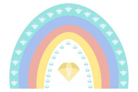 Rainbow and diamonds. Boho style. Multicolored stripes with fantasy patterns. Vector illustration. Isolated white background. Rainbow print. A striking natural phenomenon. Ethnic motives. Ilustrace