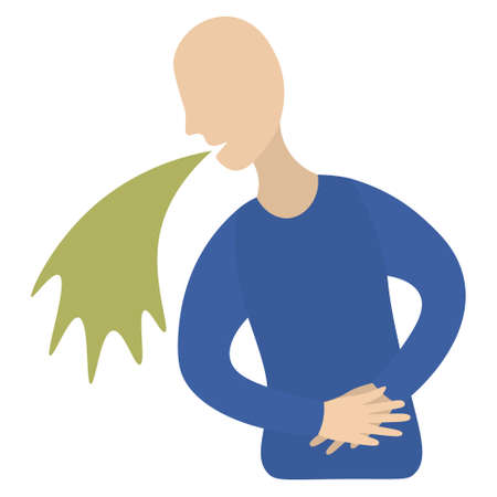The patient is nauseous. Vector icon. Sickness. The man holds on to his stomach. Isolated white background. Flat style. Vomiting. Sign of poisoning or infection. A symptom of various pathologies.