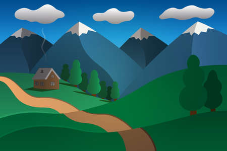 House and path. Picturesque mountain valley. Vignetting. Green hills and deciduous forest. Blue skies, cloudy. Vector illustration. Mountain landscape. Flat style. Wooden house.