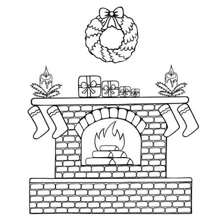 A fire is burning in the fireplace. Sketch. Vector illustration. Coloring book for children. Outline on an isolated background. Doodle style. Stockings for gifts are hung. Candles and gifts.