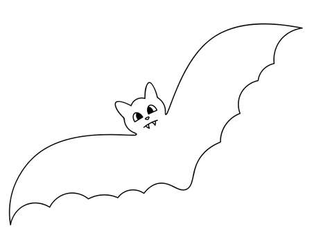 Bat. Sketch. Winged cutie. Vector illustration. Coloring book for children. Outline on an isolated white background. Doodle style. Halloween symbol. Carrier of dangerous infections. Vampire animal.  イラスト・ベクター素材