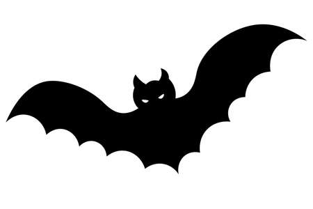 Bat. Silhouette. Halloween symbol. Glowing eyes. Vector illustration. Vampire animal. Isolated white background. Carrier of dangerous infections. Flat style. A blood-sucking mammal. All Saints Day. Ilustração