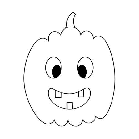 Pumpkin. Sketch. Halloween symbol. Smiling facial expression. Vector illustration. Coloring book for children. Outline on an isolated white background. Doodle style. Jack-lantern. Nice grimace.