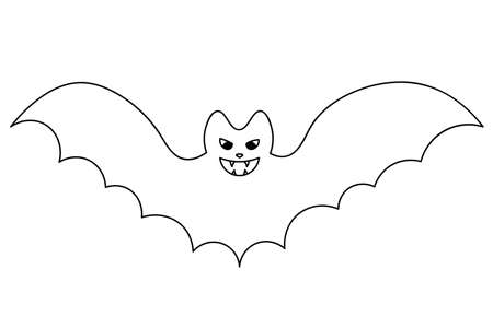 Bat. Sketch. Vector illustration. Coloring book for children. Outline on an isolated white background. Doodle style. Halloween symbol. Carrier of dangerous infections. Vampire animal. A blood-sucking