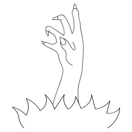 The dead man hand made its way to the surface. Sketch. Curved fingers with sharp claws. Vector illustration. Doodle style. A sinister zombie palm crawls out of the ground to grab you. Halloween.