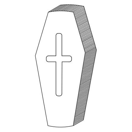 Coffin. Sketch. Vampire sarcophagus. Cross-shaped emblem on the lid. Vector illustration. Decoration for All Saints Day. Outline on an isolated white background. Doodle style. Halloween symbol.