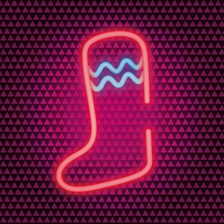 Christmas stocking. Neon vector illustration. Isolated background. Colored icon. Hang a sock over the fireplace. A boot for hiding a gift. Wavy ornament on the toe. Happy New Year and merry Christmas.