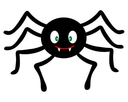 Spider. Cute toothy. Silhouette. Vector illustration. A clever hunter. Isolated white background. Halloween symbol. Flat style. All Saints Day. Funny character with big fangs. Little centipede.  イラスト・ベクター素材