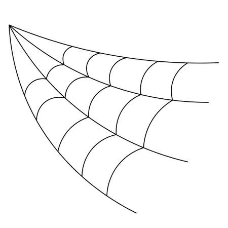 Spider web. Hunter ambush. Silhouette. Cobweb in the form of an angle. Sketch. Vector illustration. Halloween symbol. Outline on isolated white background. A sticky victim trap. Intricate network. 向量圖像