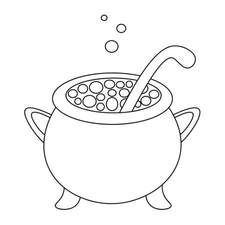A cauldron of boiling potion. Sketch. The bubbles are flying up. Vector illustration. Coloring book for children. Outline on an isolated white background. Doodle style. Witch brew in a metal pot. Illusztráció