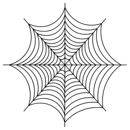 Spider web. Sketch. Silhouette. A sticky victim trap. Vector illustration. Thin thread. Outline on an isolated white background. Hunter ambush. Intricate network. Halloween symbol. All Saints Day.