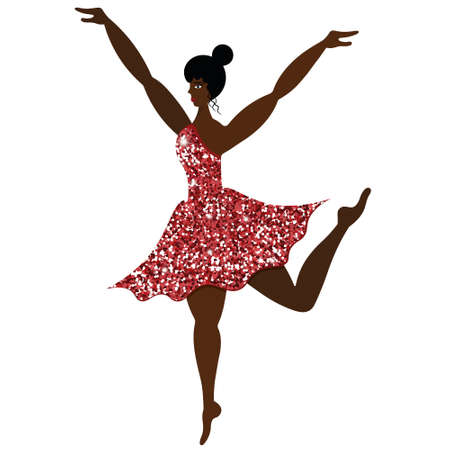 Ballerina. Girl in a coral dress with sequins. African American lady dancing. Vector illustration. Graceful performer. Isolated white background. Bright sequin outfit. Long legged model. Flat style.
