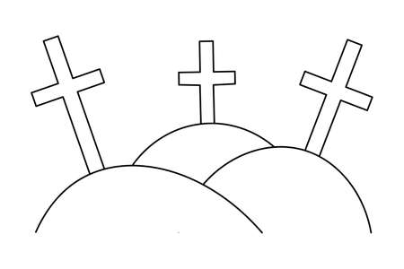 Crosses. Gloomy sketch. Grave in the cemetery. Vector illustration. Religious symbol. Outline on an isolated white background. Halloween symbol. Memorial to memory. Doodle style. All Saints Day.