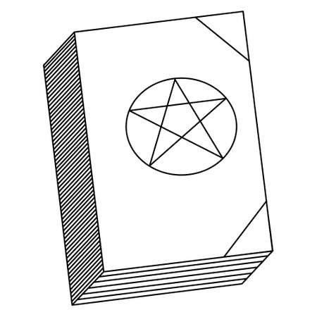 The book of magic. Desktop literature of the witch. Sketch. Vector illustration. A book with spells. Outline on an isolated white background. Coloring book for children. Halloween symbol.