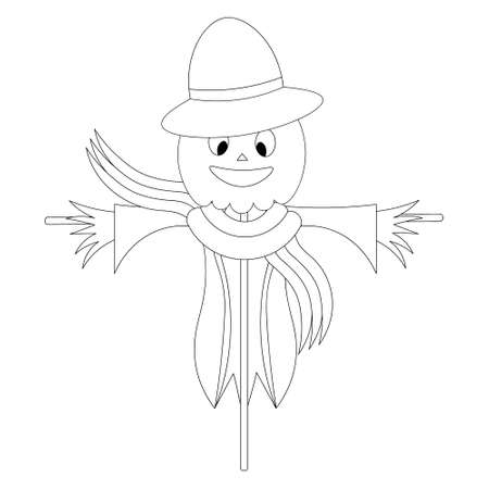 Scarecrow. Sketch. Scarecrow in rags, hat and scarf. Vector illustration. Coloring book for children. Outline on an isolated white background. Halloween symbol. Doodle style. Scare birds away. Pumpkin Ilustración de vector