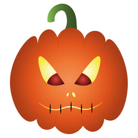 Pumpkin. Ominous grimace. The mouth is sewn up. Colored vector illustration. Halloween symbol. Isolated white background. Flat style. Angry facial expression. Jack-lantern. Glows from the inside.