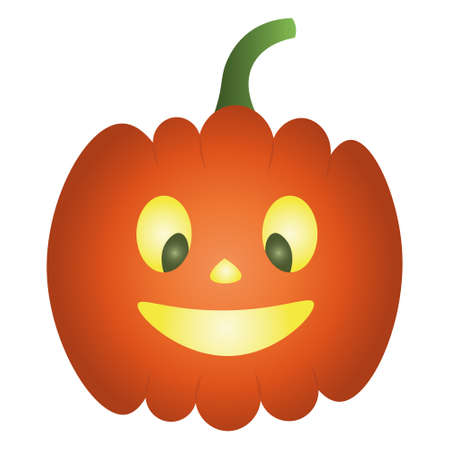 Pumpkin. Nice grimace. Glows from the inside. Colored vector illustration. Halloween symbol. Isolated white background. Flat style. Smiling facial expression. Jack-lantern. Idea for web design. Orange