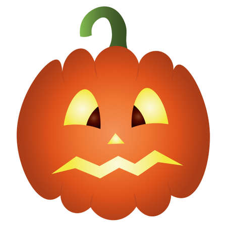 Pumpkin. Glows from the inside. Colored vector illustration. Halloween symbol. Isolated white background. Frightened facial expression. Jack-lantern. Flat style. A fearful grimace. Idea for web design
