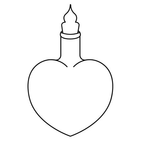 A vial of love potion. Sketch. Heart shaped bottle. Vector illustration. Coloring book for children. Outline on an isolated white background. Witch elixir in a vessel. Halloween symbol.