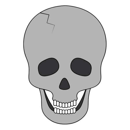 Human skull. Bone frame of the head. Vector illustration. An integral part of the skeleton. Crack in the forehead. Isolated white background. Cartoon style. Halloween symbol. Jaw with straight teeth.