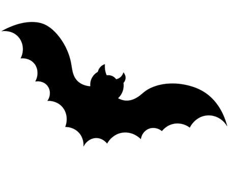 Bat. Vampire animal. Silhouette. Vector illustration. Halloween symbol. Isolated white background. Carrier of dangerous infections. Flat style. A blood-sucking mammal. All Saints Day. Ilustracja