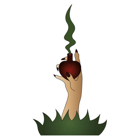 The witch's hand holds a vial with a love potion. Heart shaped vessel. Magic couples come out of the bubble. Long fingers with sharp nails burst from the ground. Colored vector illustration. Isolated Banco de Imagens - 158270219