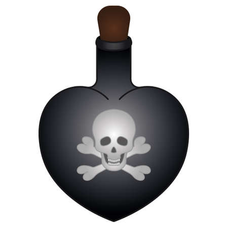 Witch potion in a flask. Heart shaped vessel. Poison bottle. Colored vector illustration. Isolated white background. The emblem on the bottle is skull and bones. Halloween symbol. Cartoon style.