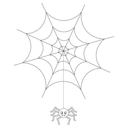 The spider weaves a web. A sticky victim trap. Sketch. Vector illustration. Coloring book for children. Outline on an isolated white background. The insect hangs on a thin thread. Doodle style. 矢量图像