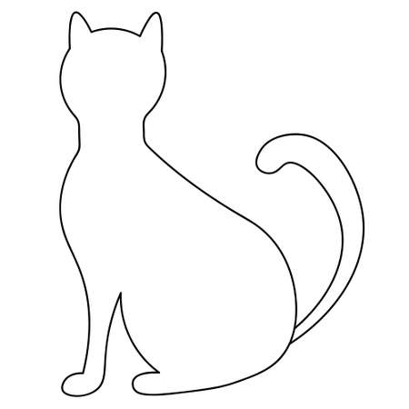 Cat. Sketch. A pet. Vector illustration. Coloring book. Outline on an isolated background. Sits with his back. Halloween symbol. Black Friday. Creation associated with omens and superstitions. Vector Illustration