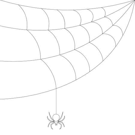 The spider weaves a web. Sketch. Bloodthirsty predator. Black Widow. Vector illustration. Coloring book for children. Outline on an isolated white background. The insect hangs on a thin thread.