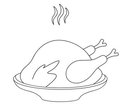 Roasted turkey. Sketch. Juicy meat on a plate. Fragrant smoke. Vector illustration. Coloring book for children. Outline on an isolated white background. Doodle style. Thanksgiving day symbol. Icon.