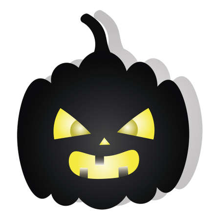 Pumpkin. Angry facial expression. Silhouette. Vector illustration. Isolated white background. Dark shadow. Halloween symbol. Ominous grimace. Jack-lantern. Glows from the inside. Idea for web design. Vektoros illusztráció