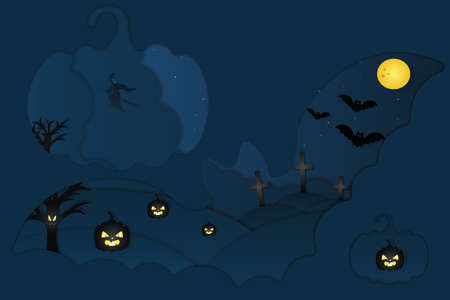 Halloween. Mystical landscape. Cutout style. Vector illustration. Window in the form of bats and pumpkins. A witch on a broomstick flies in the sky. Full moon. Bats fly across the starry sky.