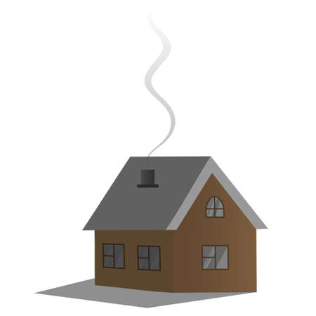 Cozy country dwelling. Vector illustration. House. Smoke billows from the chimney. Isolated white background. Holiday cottage. Wooden house. Residential building away from the bustle of the city. Ilustração
