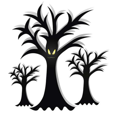 Ominous trees. The mouth is sewn up. Silhouettes of plants. Angry facial expression. Curved branches. Vector illustration. Isolated white background. Gloomy shadows in the forest. Halloween symbol. Ilustração