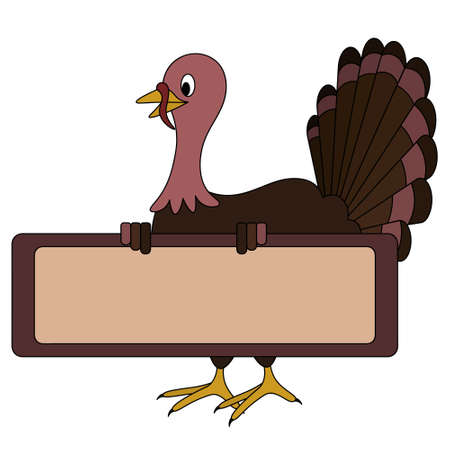Homemade turkey. The bird is holding a blank poster. Place for your text. Colored vector illustration. Isolated white background. Cartoon style. Thanksgiving day symbol. A fabulous character.
