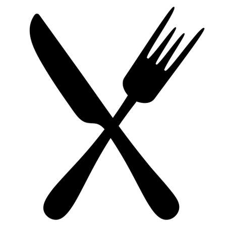 Cutlery. Silhouette. Knife and fork. Vector set of illustrations. Outline on an isolated white background. Flat style. Collection of tools for eating. The dining equipment is crossed among themselves.